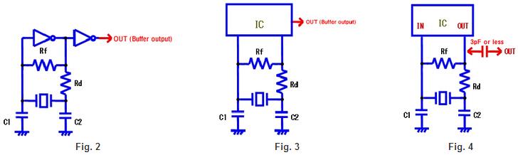 它是必不可少的测量真正的值,尽可能的,振荡频率的谐振器安装在电路上,使用正确的方法.在振荡频率的测量中,通常使用探针和频率计数器.然而,目标是要测量的限制通过测量工具对振荡电路本身的影响.测量频率的三种模式是可用的,如图所示(图2,3和4).最准确的测量方法是通过使用能够准确测量的任何频谱分析仪,而不与振荡电路接触来实现的.