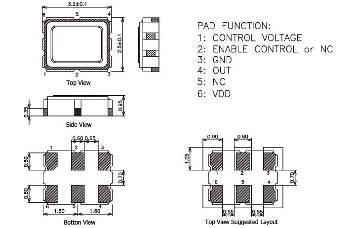 dj,dr,3225mm压控晶体振荡器,txc石英晶体,贴片晶振